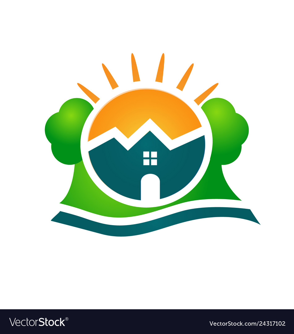 Logo real estate house sun and tree