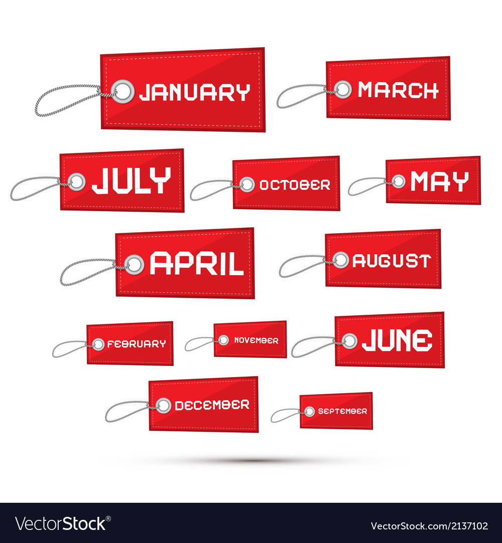 Months of the Year Red Sale Paper Labels Tags Set