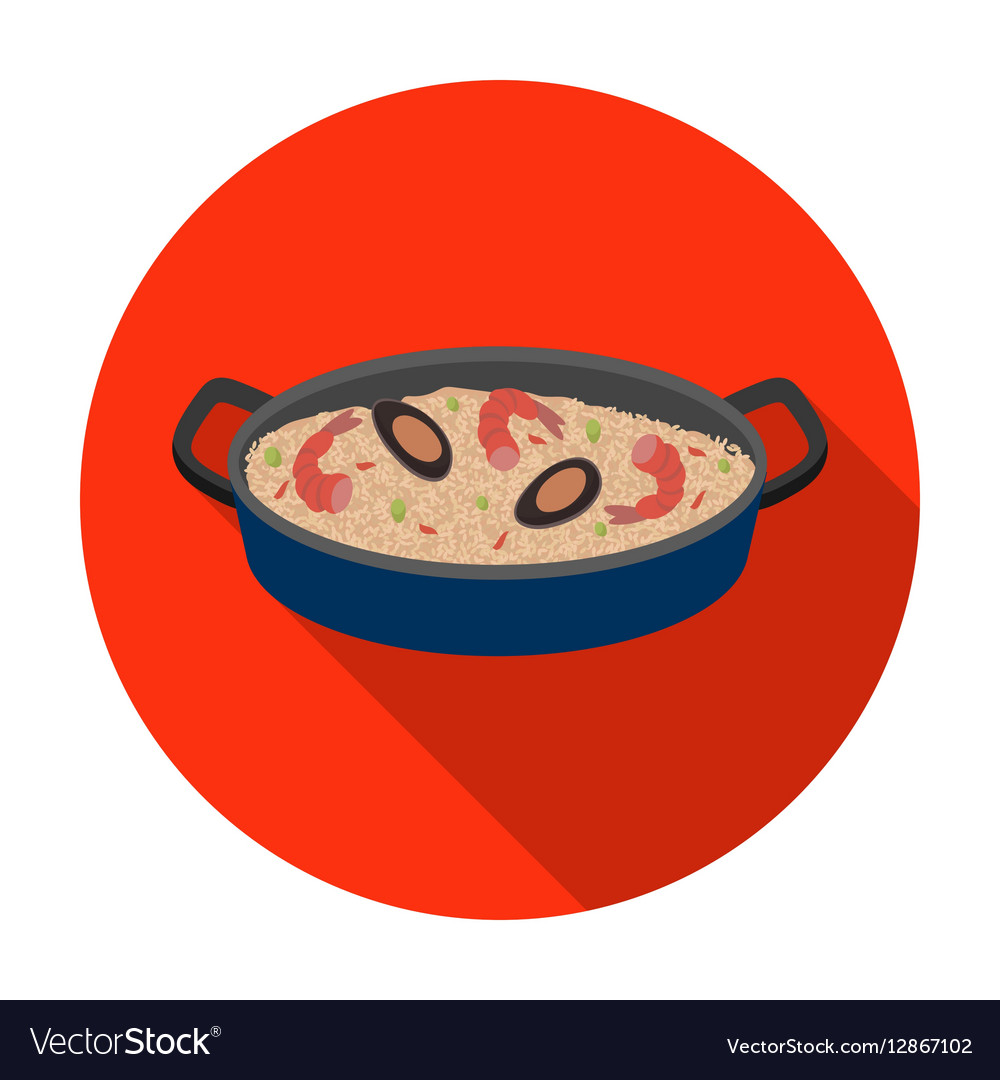 Paella icon in flat style isolated on white
