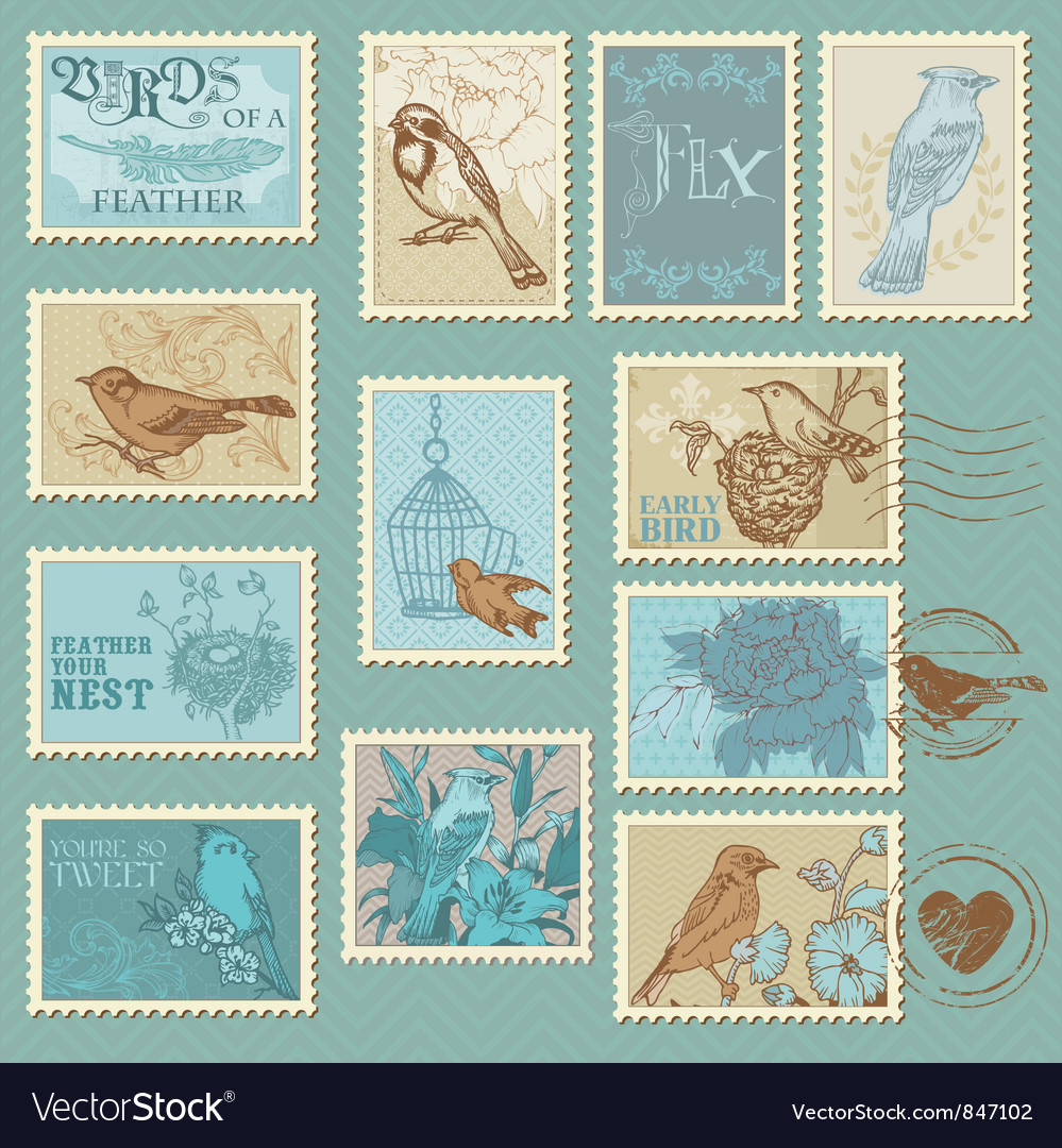 Retro Bird Postage Stamps