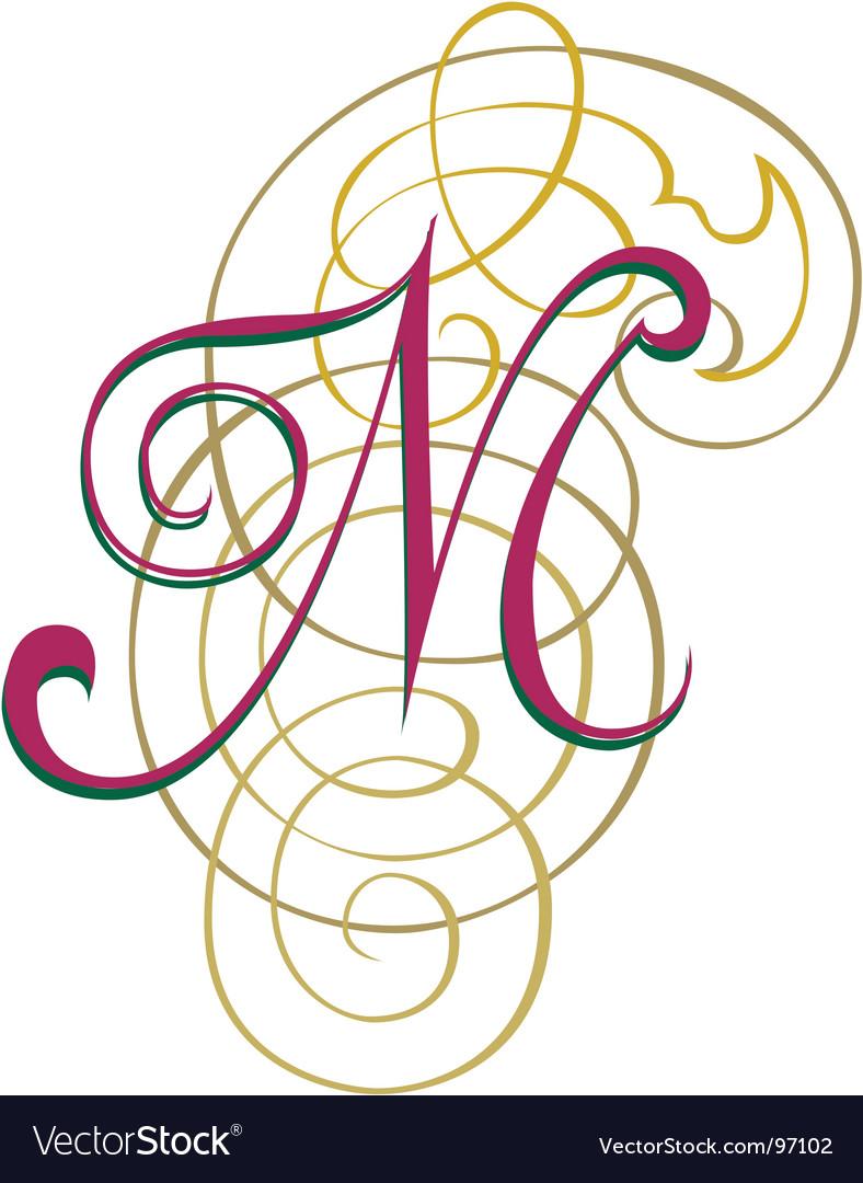 Script letter m vector image
