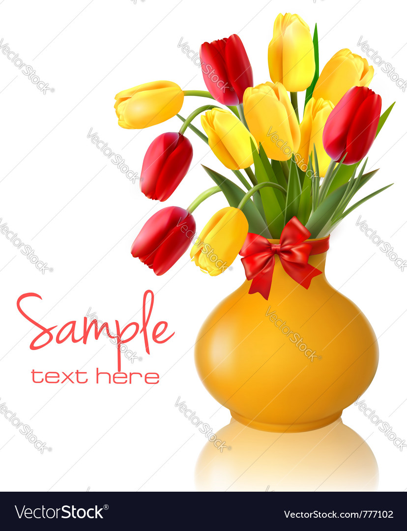 Spring flowers vase vector image