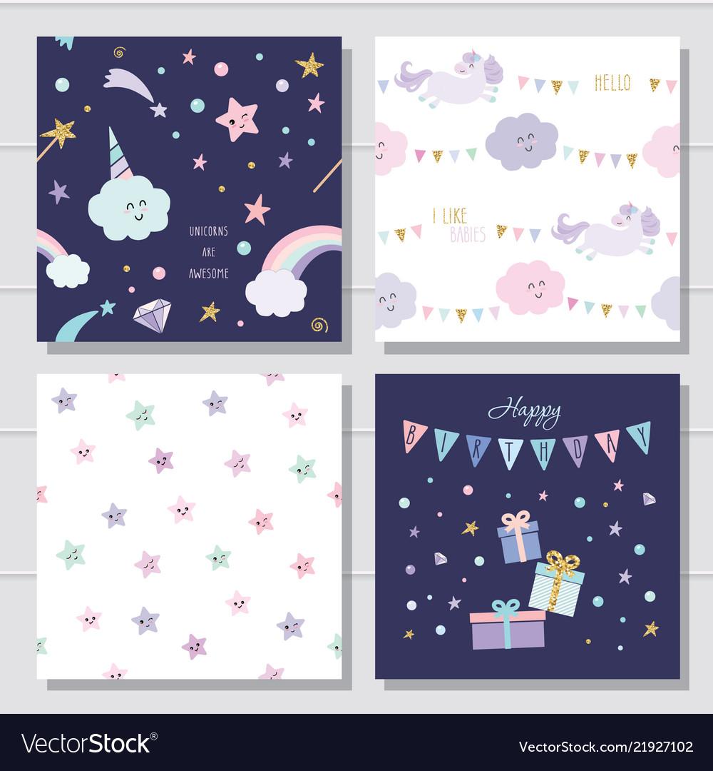 Unicorn and stars cartoon seamless patterns and
