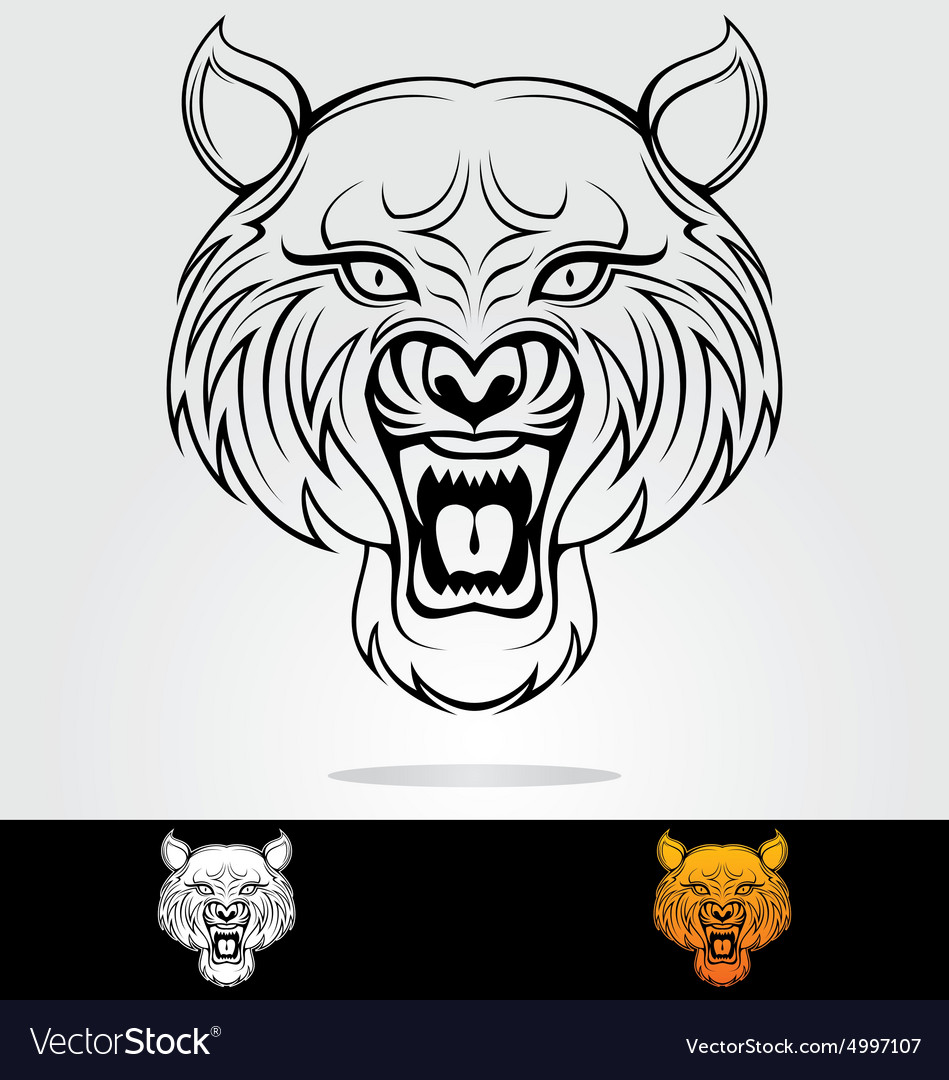 Angry Tiger Head Tribal