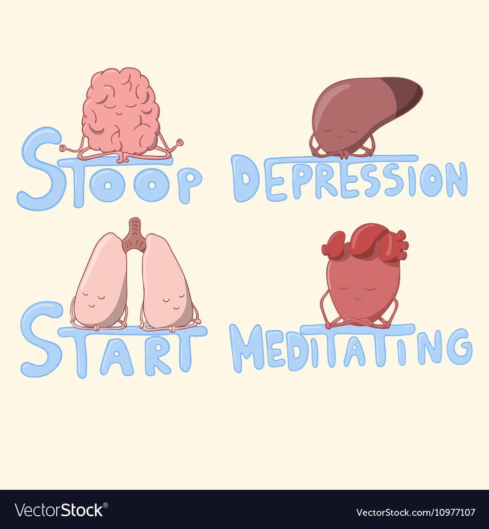 Cute internal organs meditating and struggling