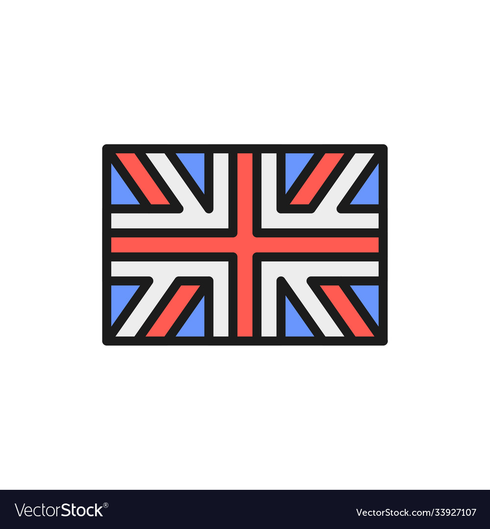 Flag great britain england flat color line