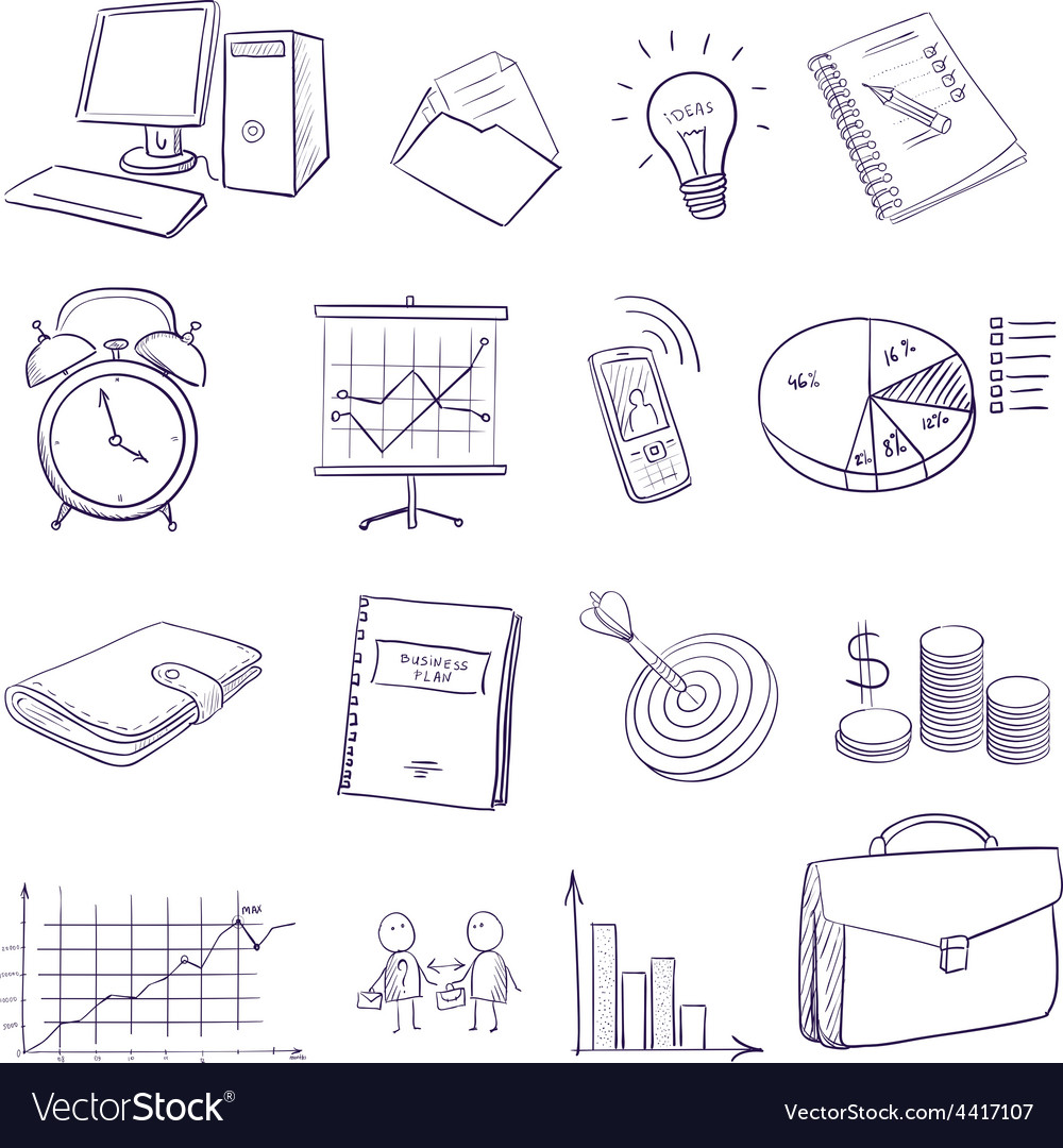 Hand draw doodle business icon set