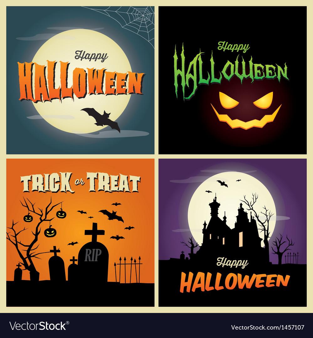 Happy halloween set card vector image