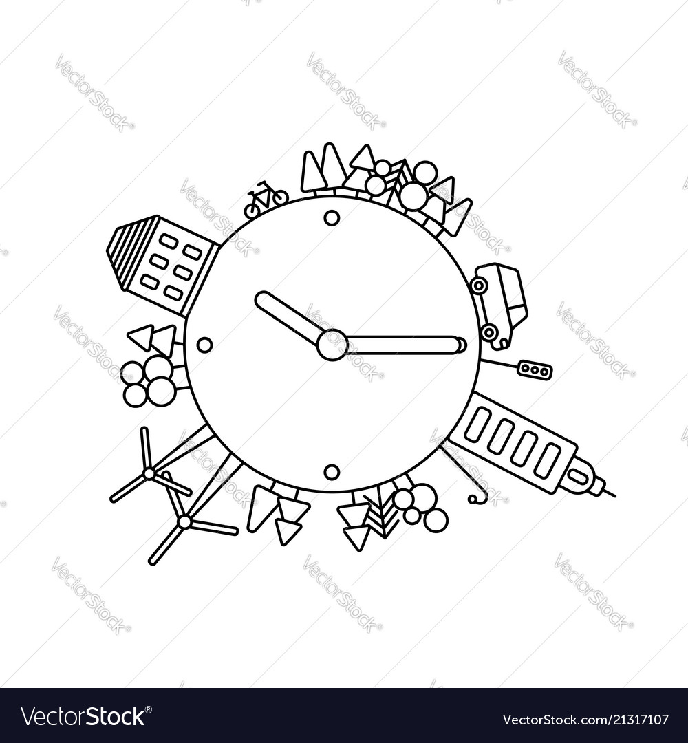Infographics modern city living concept clock