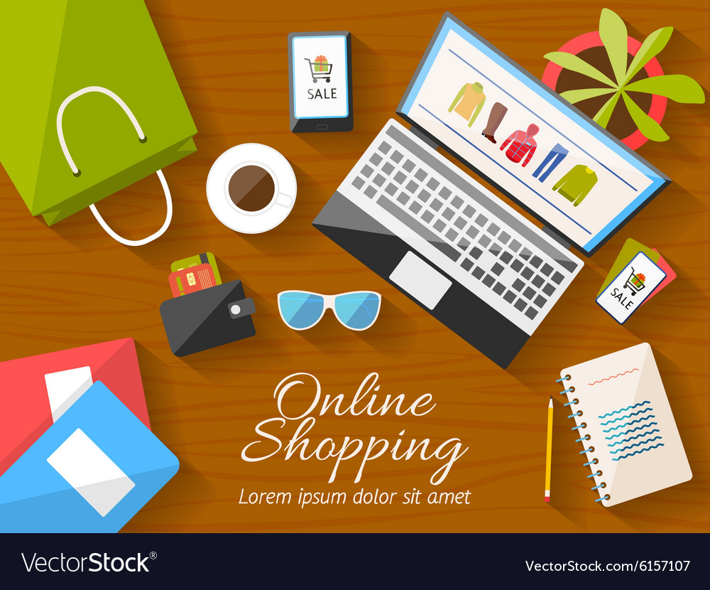 Online shopping concept desktop with computer