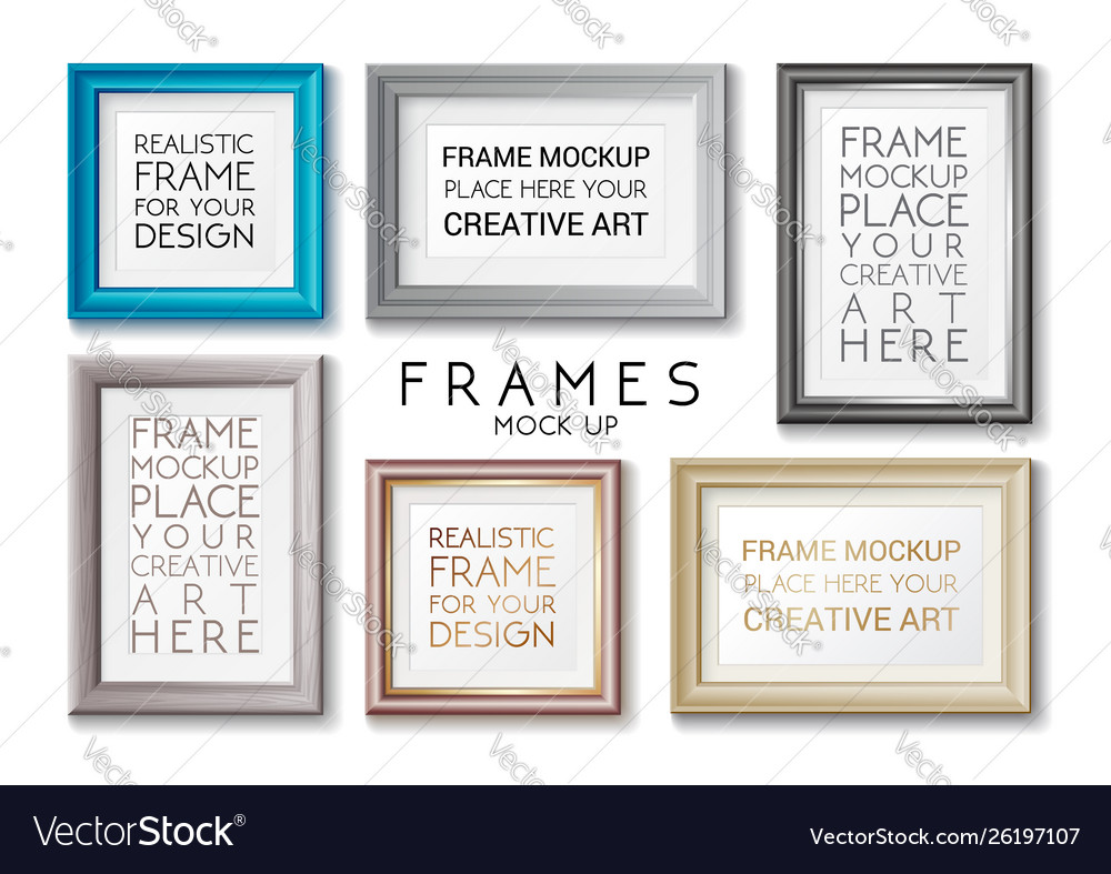 Realistic rectangular gold and blue frames set