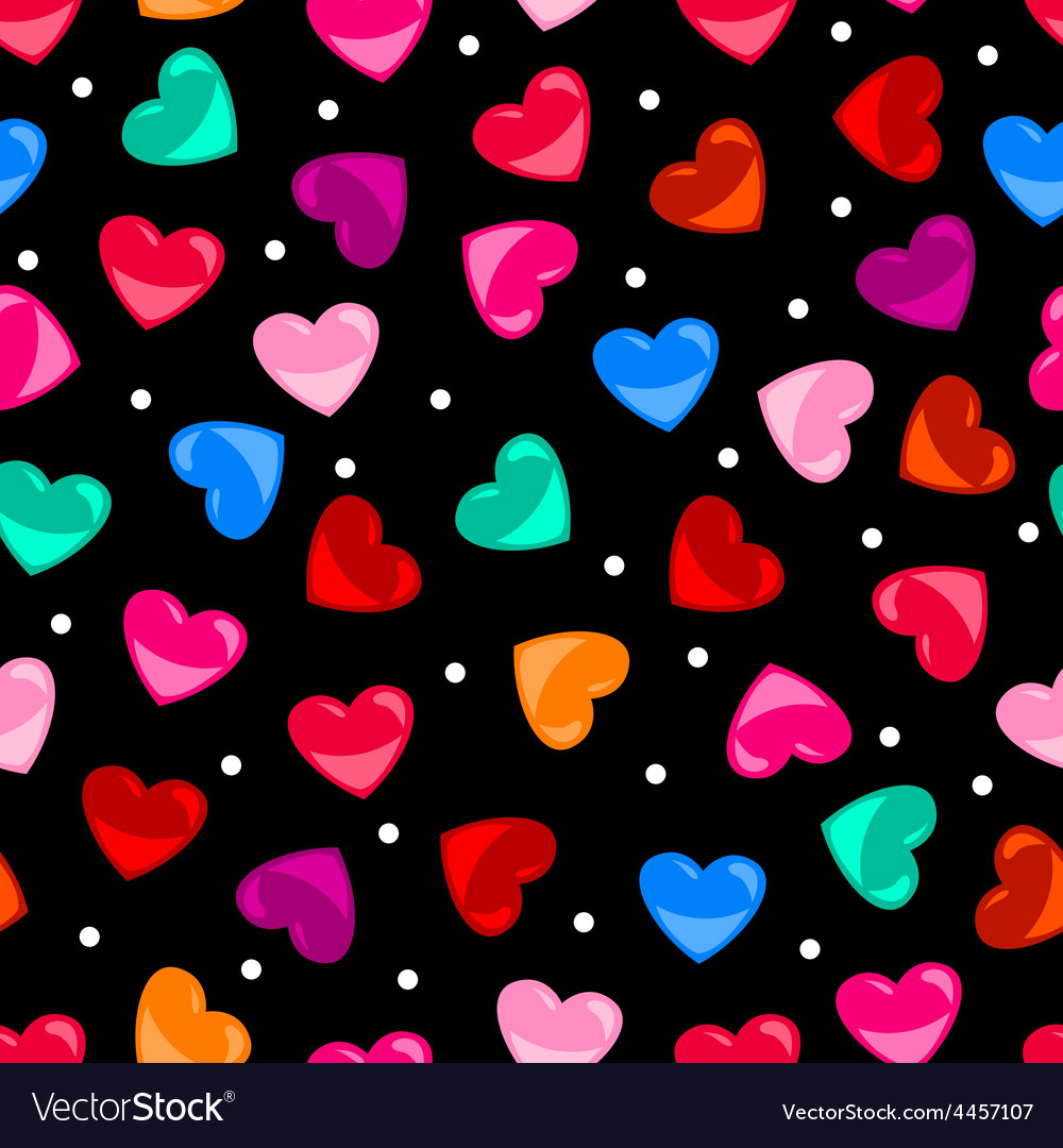 Seamless colorful heart shape pattern over black