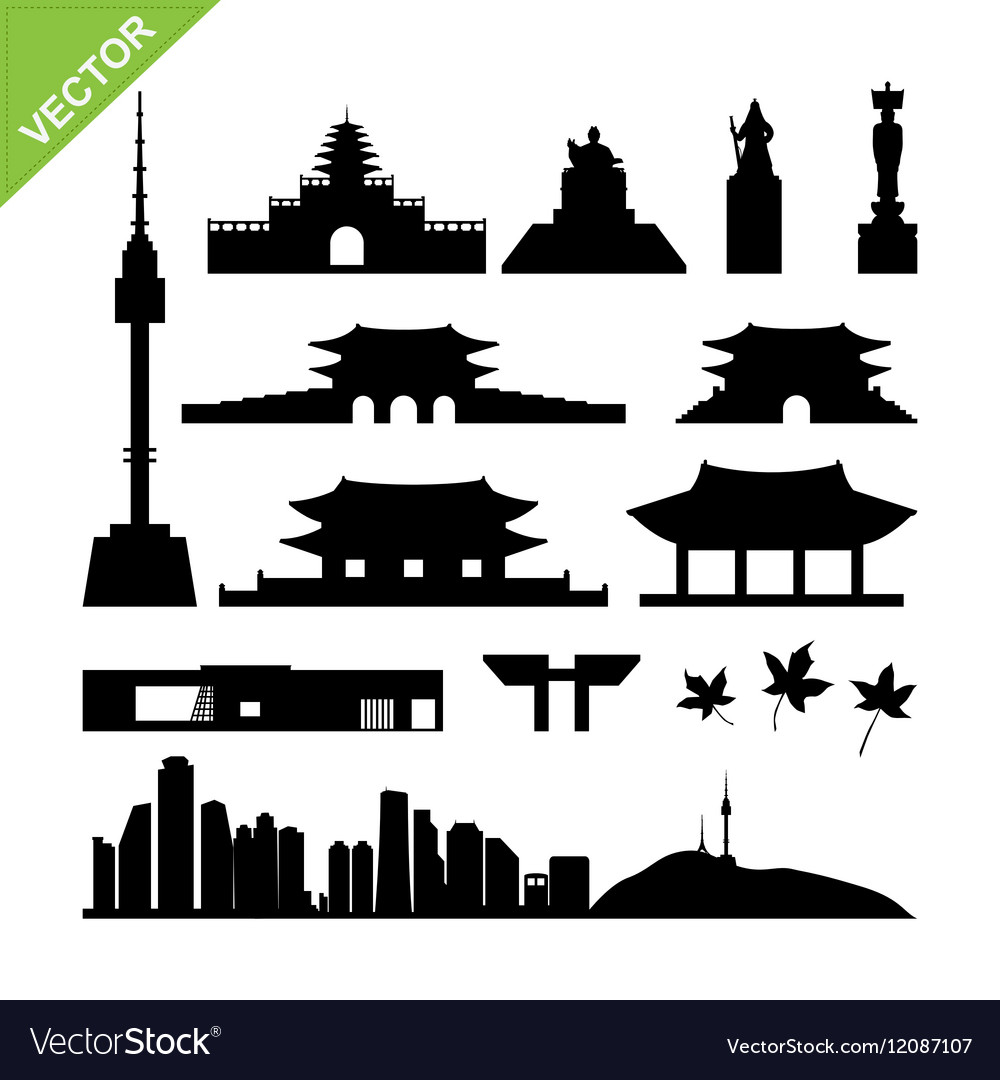 Seoul South Korea landmark silhouettes vector image