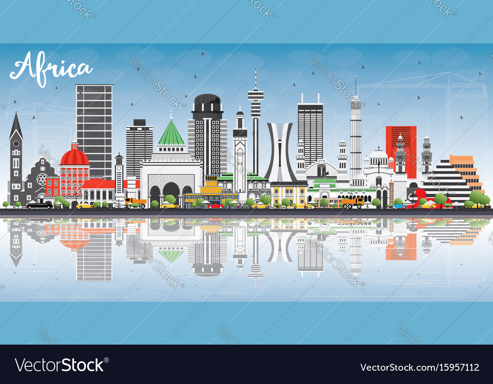 Africa skyline with famous landmarks and vector image