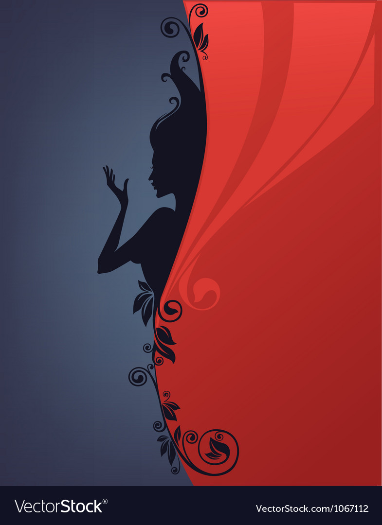Background with floral girl silhouette vector image