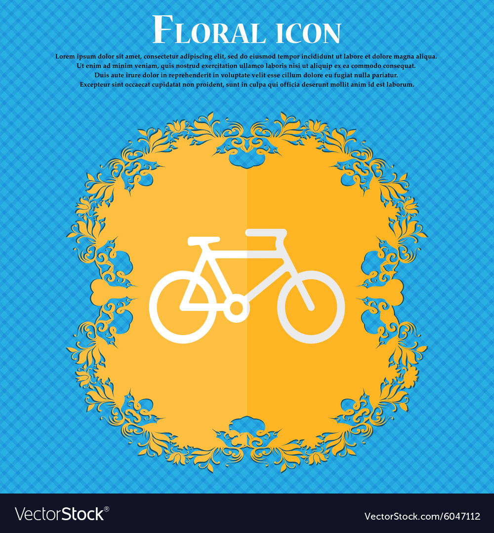 Bike Floral flat design on a blue abstract