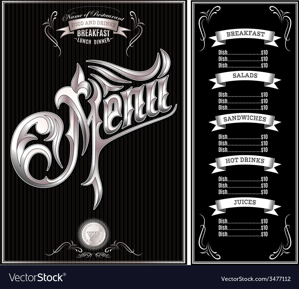 Black template for the cover of the menu