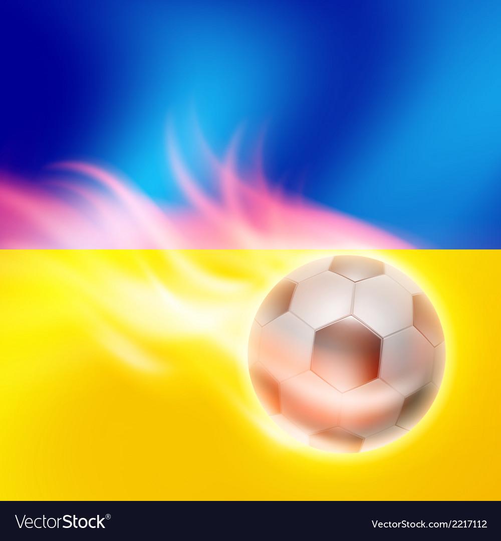 Burning football on Ukraine flag background