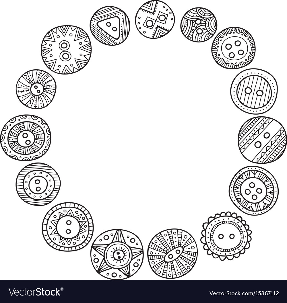 Circle frame with cloth buttons in boho style Vector Image