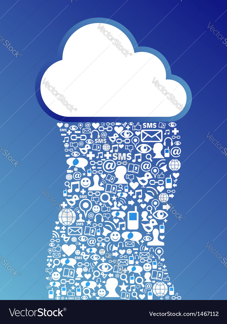 Cloud computing network background vector image