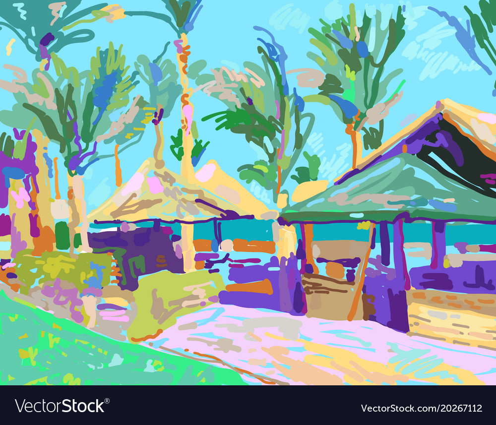 Digital painting of summer beach landscape in