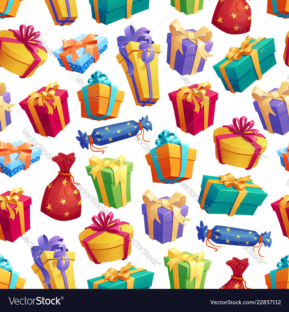 Gift boxes or presents with bow seamless pattern