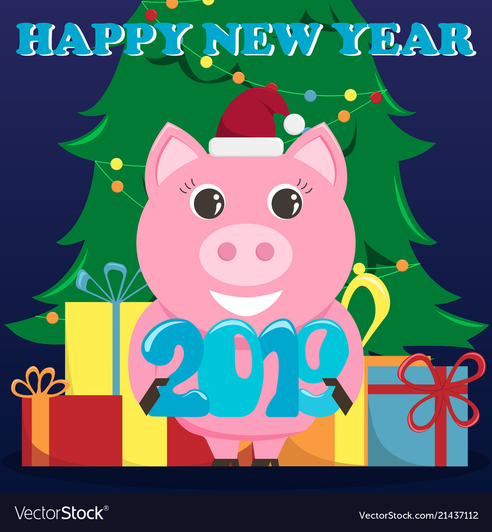 Lovely Greeting Card For The New Year 2019 With A Vector Image