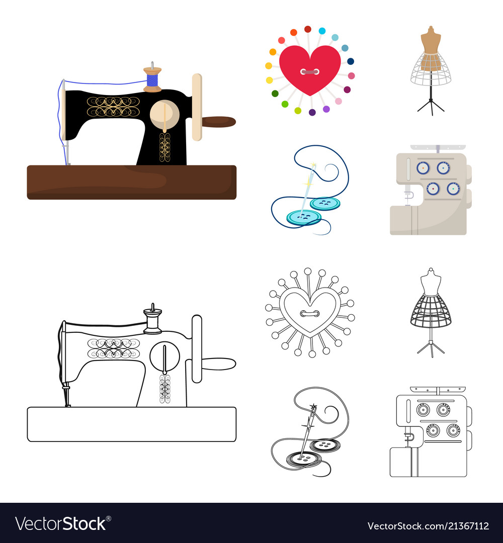 Needle and thread sewing machine pincushion Vector Image