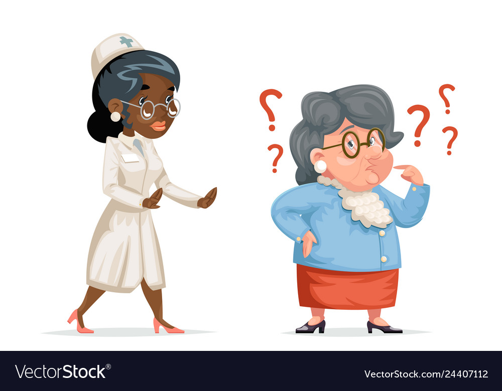Nurse doctor hurry to help confused grandmother