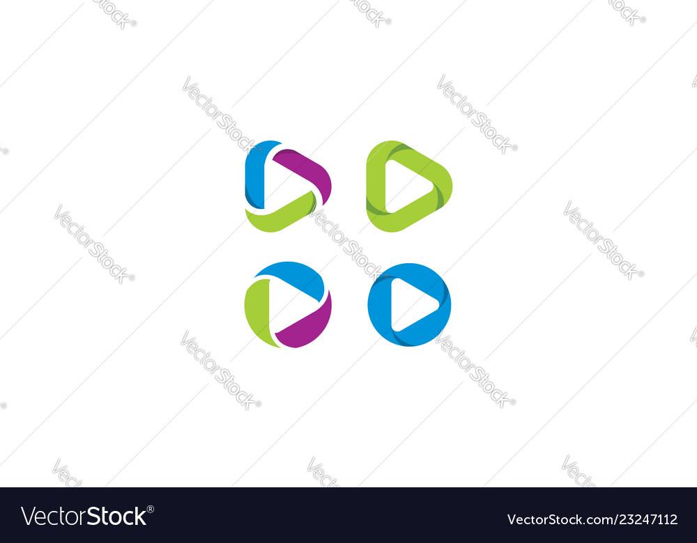 Play button icon logo application
