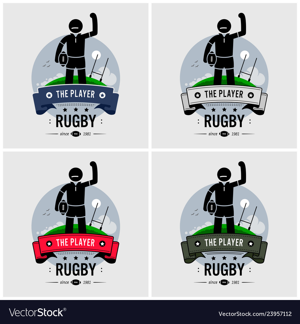 Rugby club logo design artwork of strong rugby