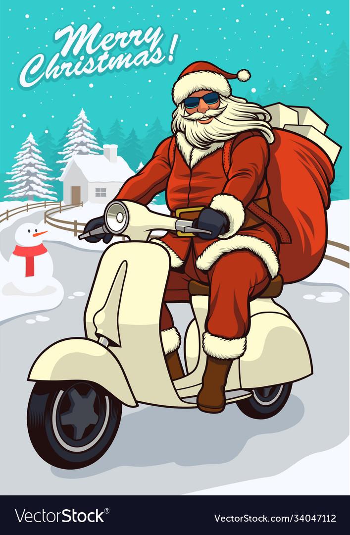 Santa claus riding vintage scooter