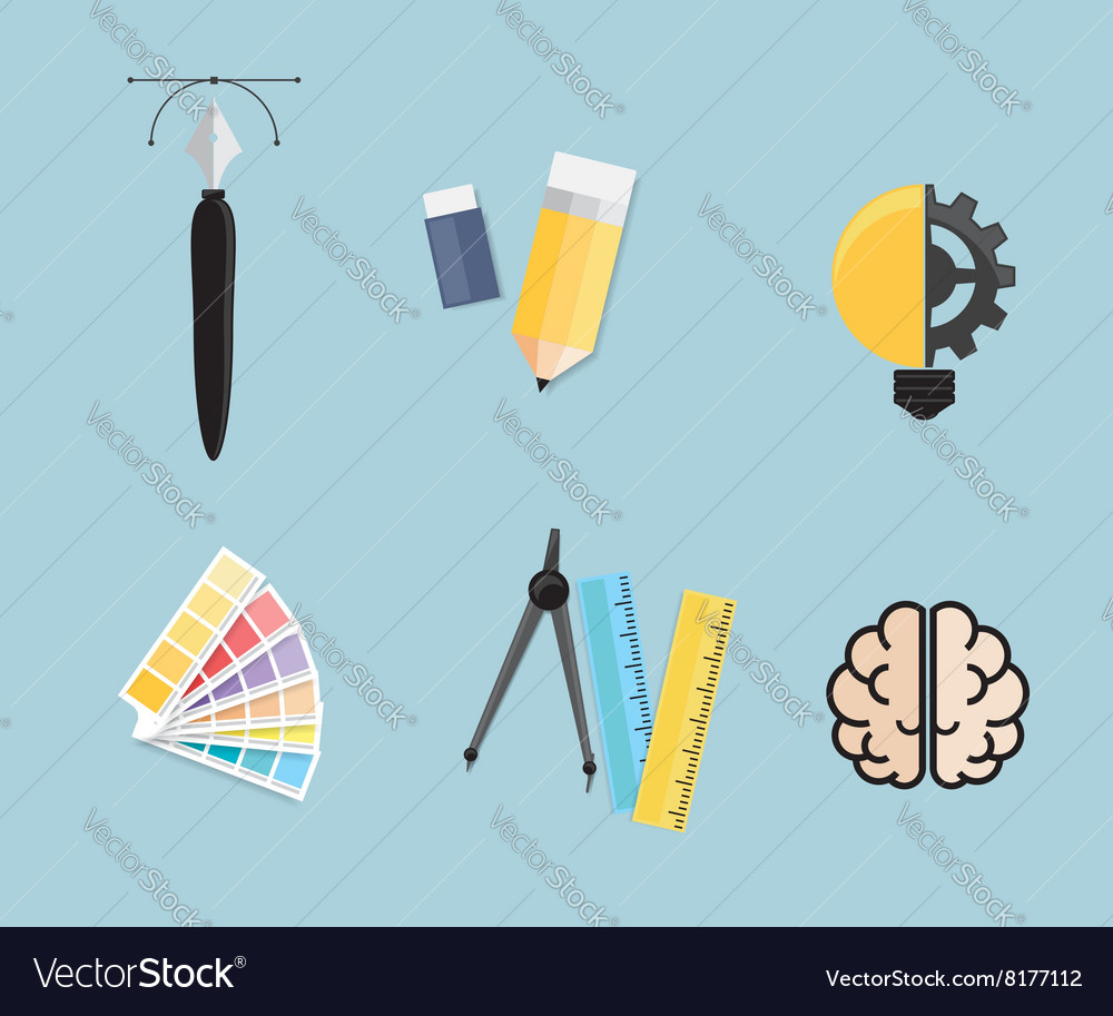 Set of Creative Tools Idea Graphic Design Concept