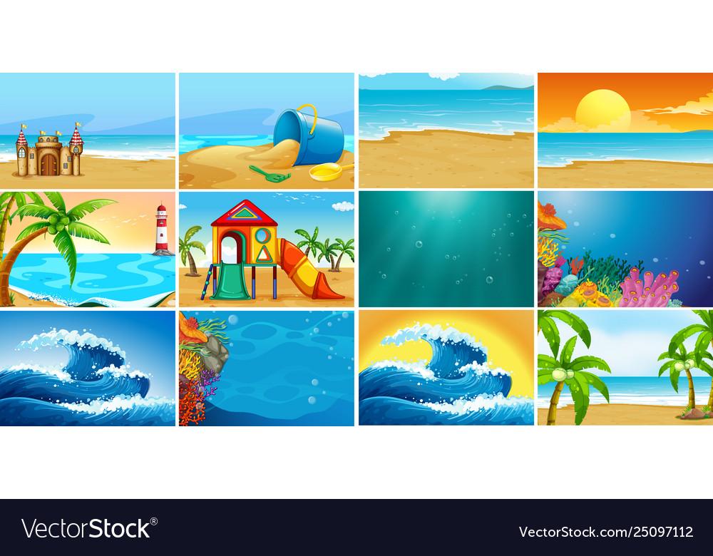 Set summer beach background
