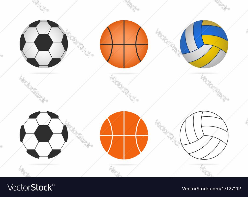 Soccer basketball and volleyball balls set