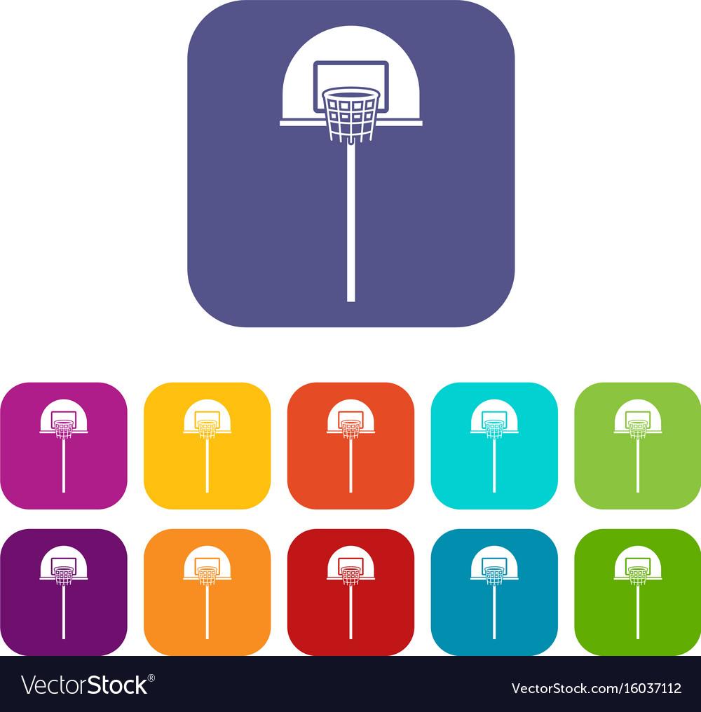 Street basketball hoop icons set vector image