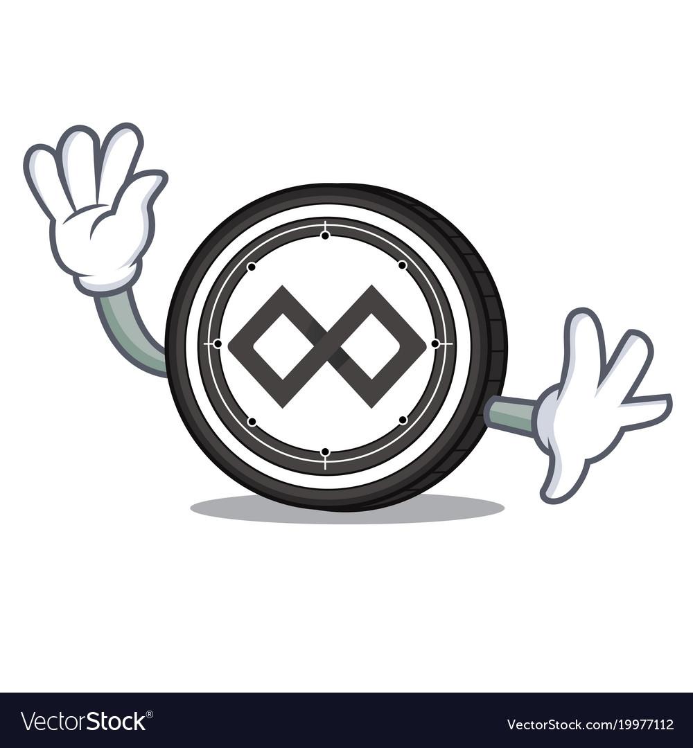 Waving tenx coin character cartoon