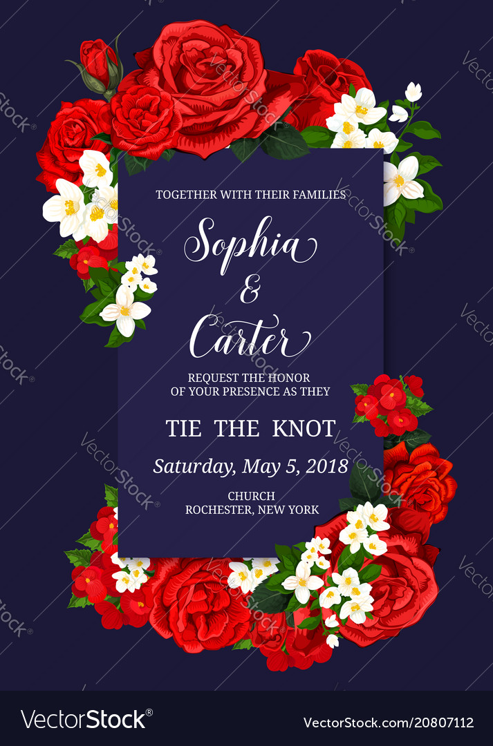 wedding ceremony invitation card with flower decor