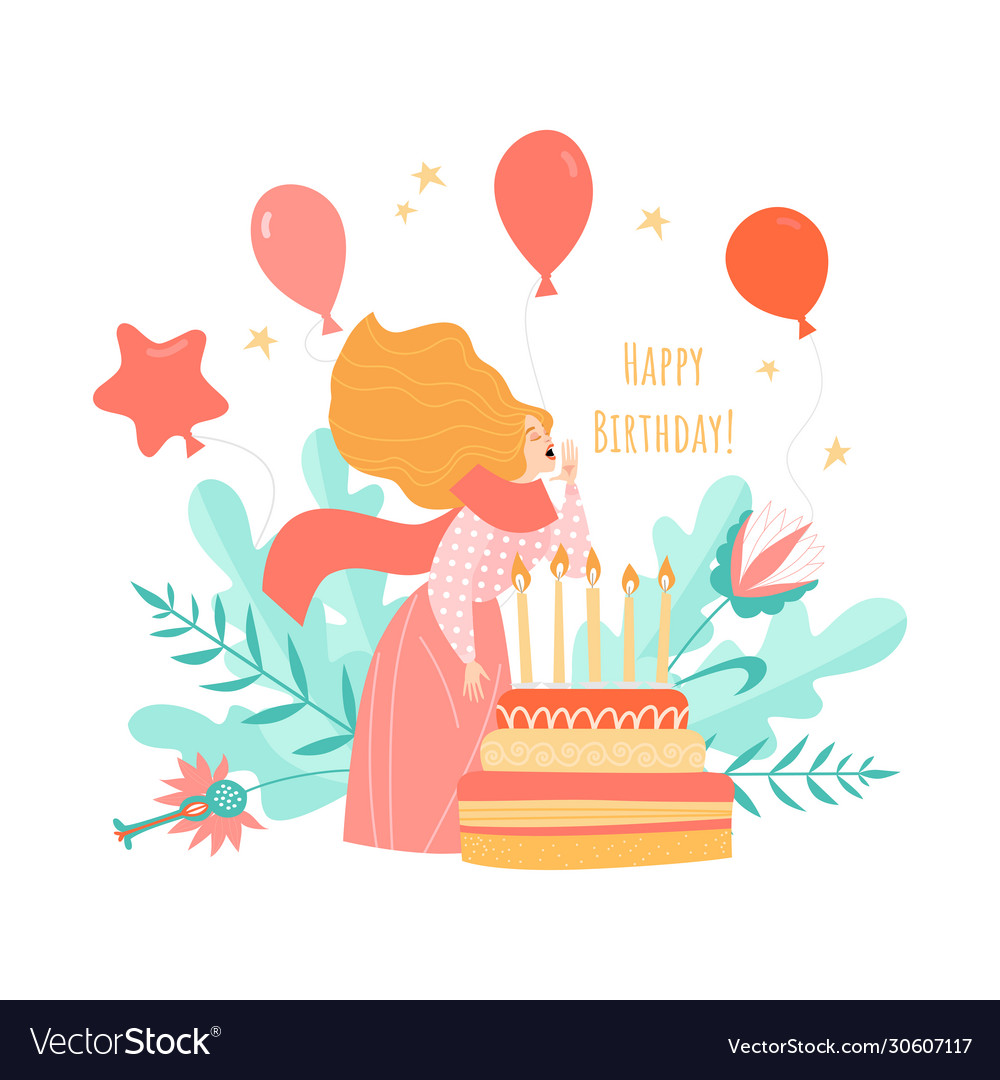 Birthday card template with cake and girl