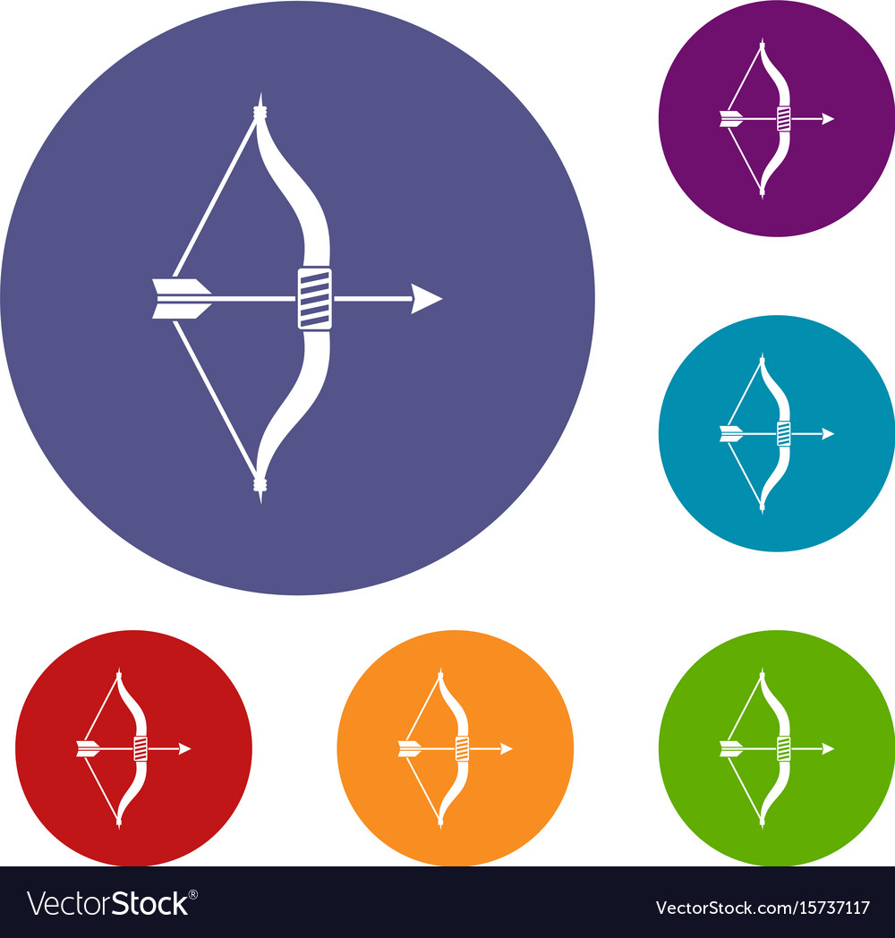Bow and arrow icons set