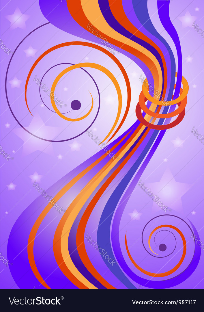 Bright curved stripes on purple background vector image
