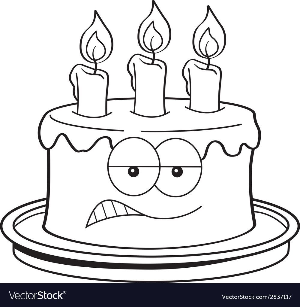 Cartoon Angry Birthday Cake Vector Image
