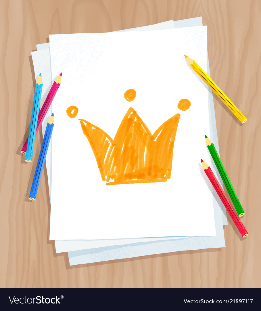 Child drawing crown