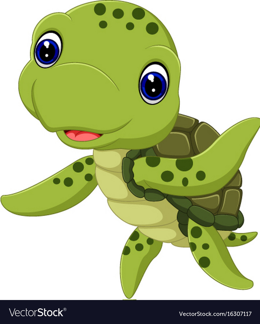 Cute Sea Turtle Cartoon Royalty Free Vector Image