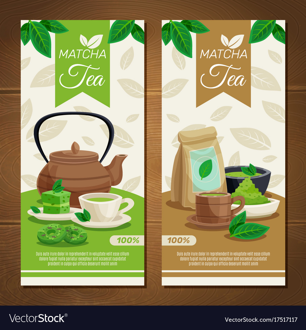 Green matcha tea vertical banners
