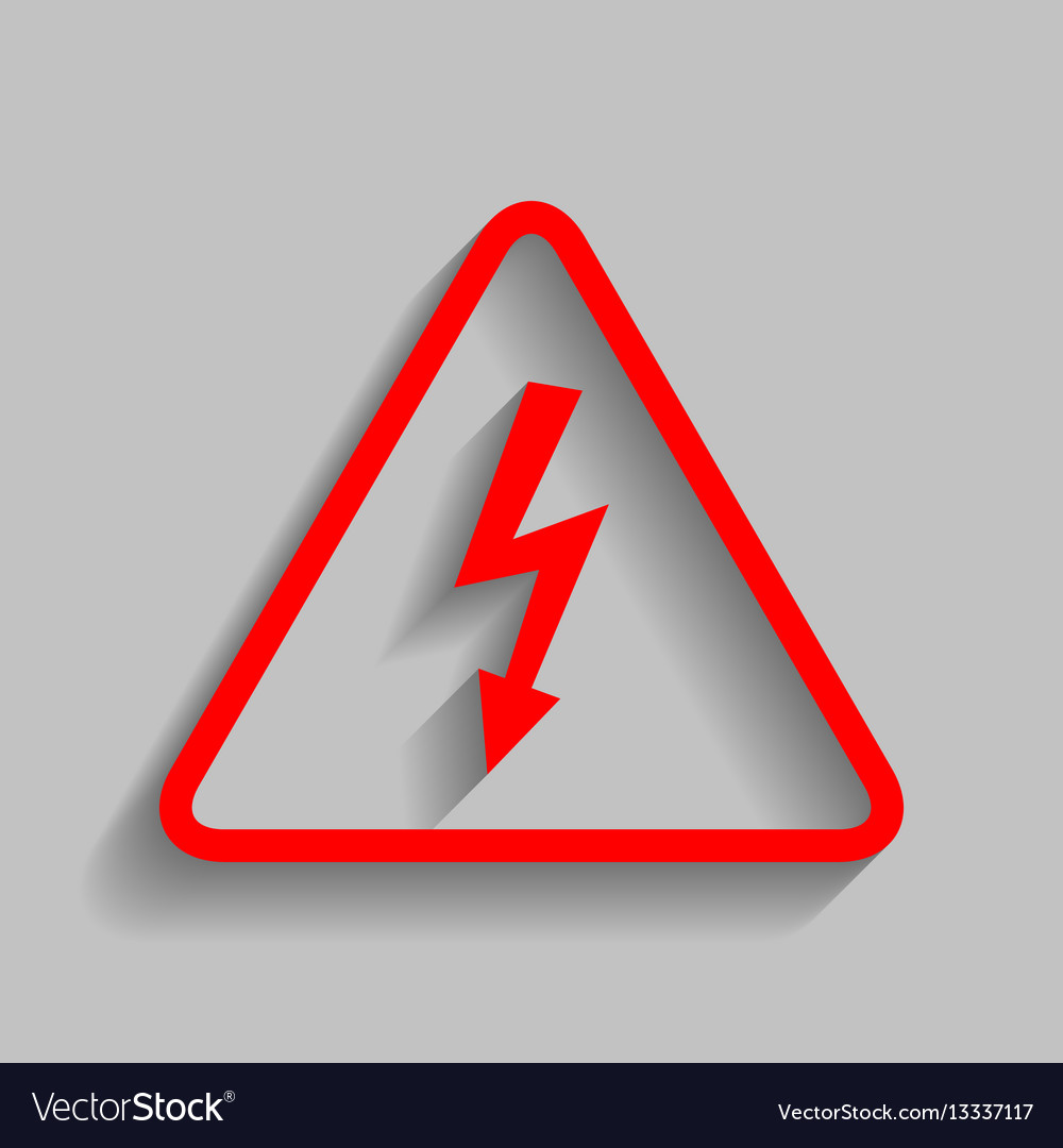 High voltage danger sign red icon with Royalty Free Vector