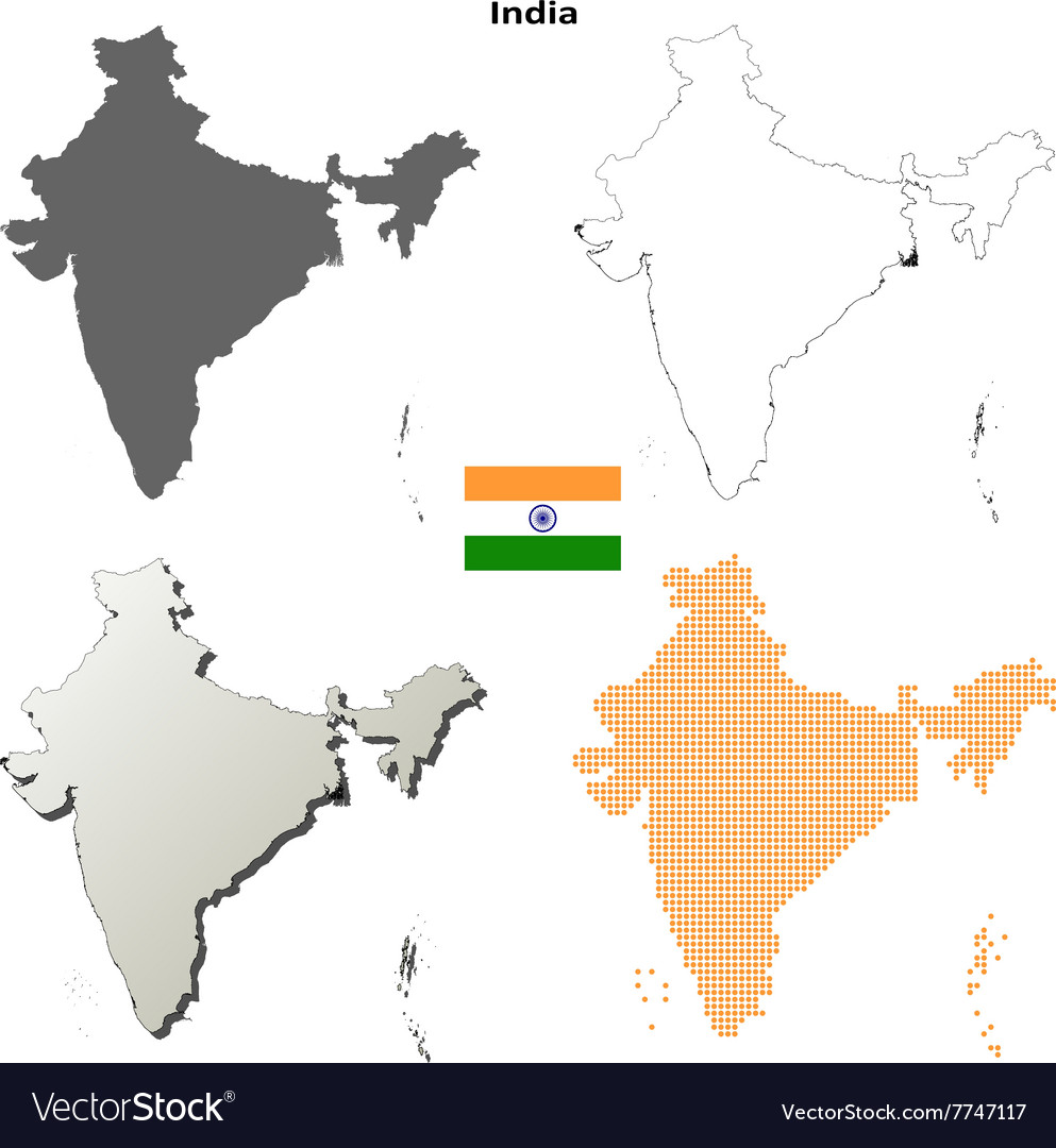 India Outline Map Set Royalty Free Vector Image