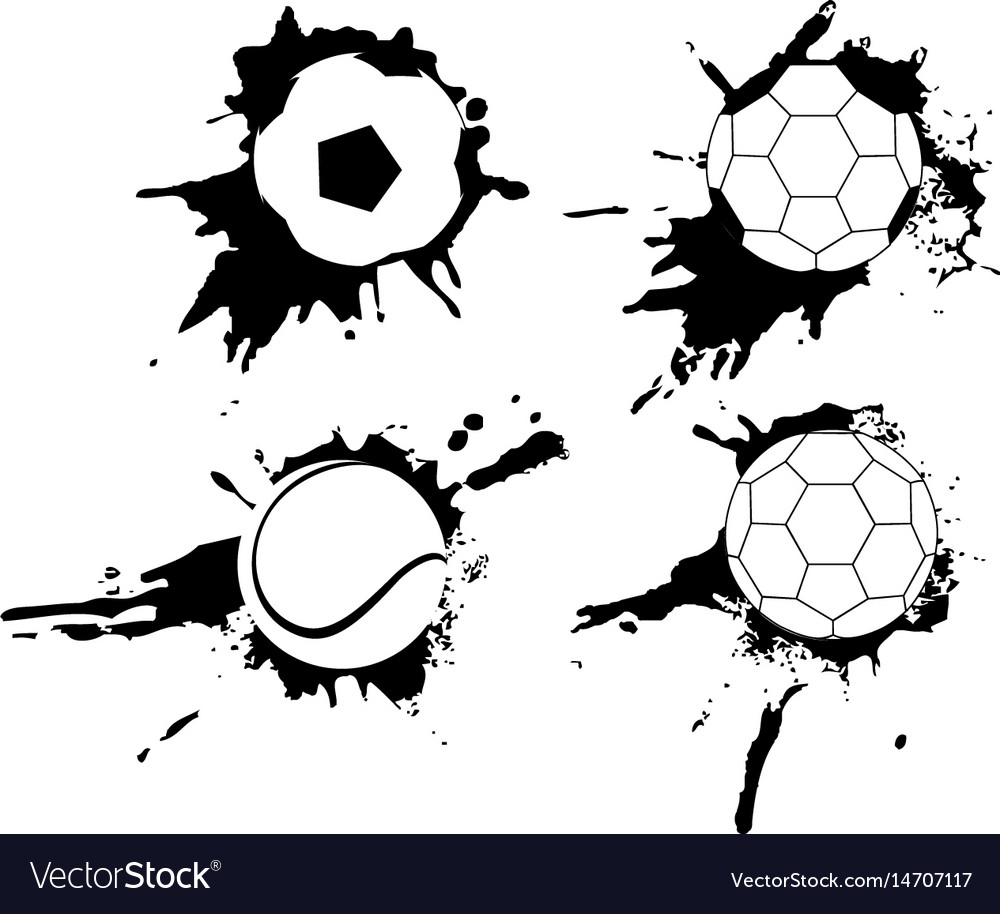 Set of hand drawn grunge banners with soccer ball