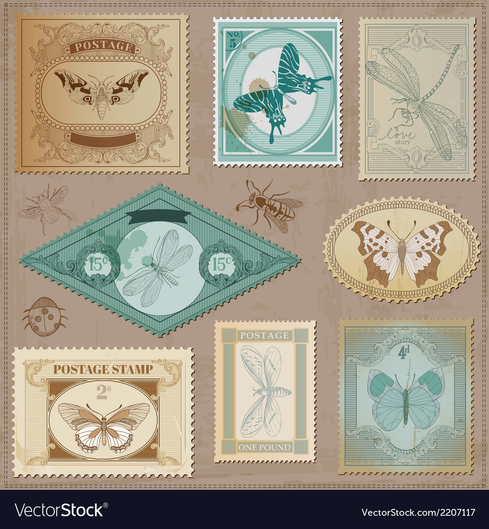 Set Vintage Post Stamps