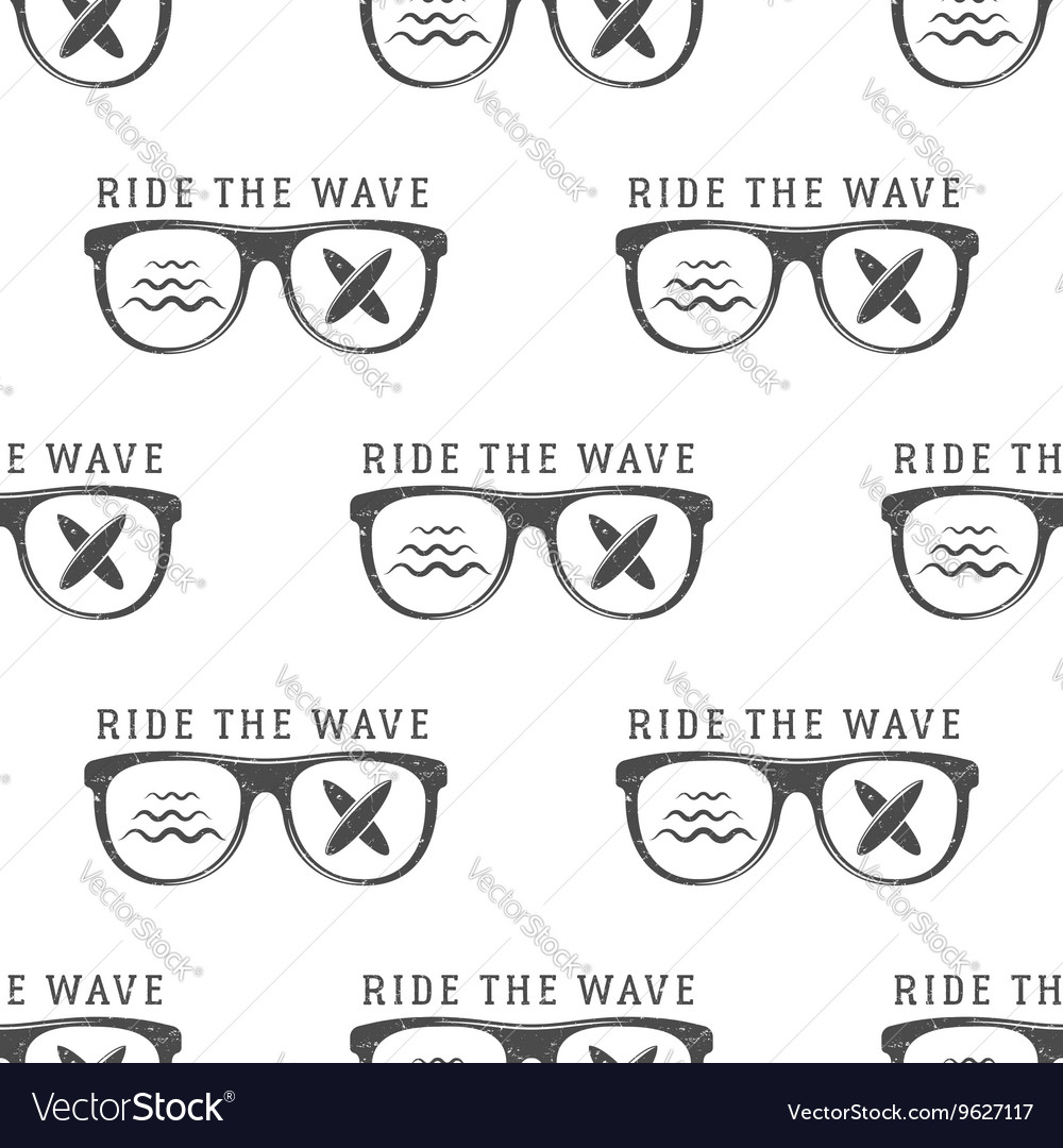 Surfing Seamless pattern with surfing glass